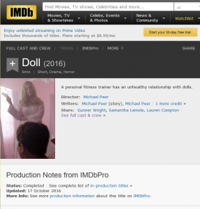 IMDb listing for the movie DOLL (2016)